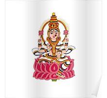 goddess Lakshmi kalamkari white Poster