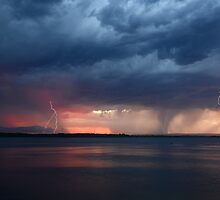 Storm Fest over Pumicestone Passage by Barbara Burkhardt