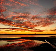 Fire in the Sky - Pumicestone Passage by Barbara Burkhardt