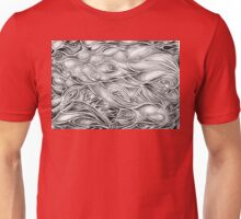 Unique Abstract Flowing Gray Black & White Drawing Unisex T-Shirt