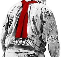 Red Suspenders (Traditional Art in Pencil and Watercolor) by deborah zaragoza