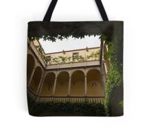 Courtyard - Green Mediterranean Serenity and Peace Tote Bag