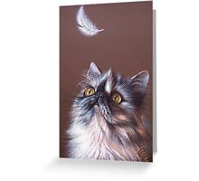 Cat & feather Greeting Card