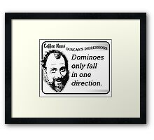 Dominoes Only Fall in One Direction Framed Print