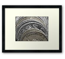 Stacked coins Framed Print