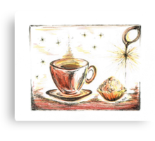 Golden Sweet Truffle with coffee Canvas Print