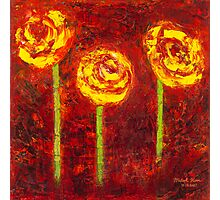 """Three Yellow Roses"" Oil on Canvas by MiSook Kim Photographic Print"