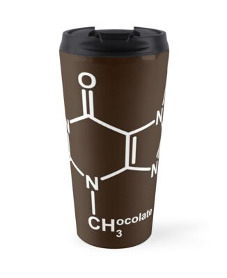 'Theobromine Molecule - Chocolate' Travel Mug by Anny Arden