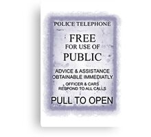 Police Telephone T-Shirt Canvas Print