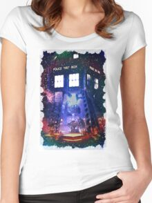 Nebula Public call Box In Space iPhone Case Women's Fitted Scoop T-Shirt