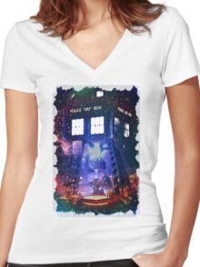 Nebula Public call Box In Space iPhone Case Women's Fitted V-Neck T-Shirt