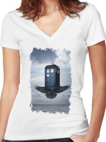 Police Call Box Flying with the Bird iPhone 6 Case Women's Fitted V-Neck T-Shirt