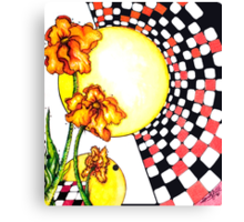 checkerboard and flowers Canvas Print
