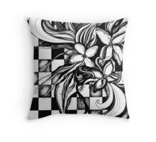 Pen and Ink Flowers on Checkerboard Throw Pillow