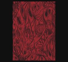 Unique Abstract Flowing Gray Black & Red Drawing Digitized Vertical One Piece - Long Sleeve