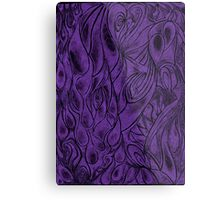 Unique Abstract Flowing Gray Black & Purple Drawing Digitized Vertical Metal Print