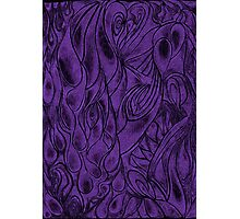 Unique Abstract Flowing Gray Black & Purple Drawing Digitized Vertical Photographic Print