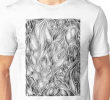 Unique Abstract Flowing Gray Black & White Drawing Vertical Unisex T-Shirt