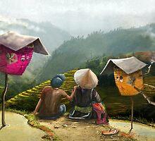 """Sapa""  Illustration M.Konecka for ""Destin de carte postale"" by Eric Tchijakoff"