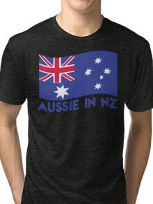 Aussie in NZ with Australian Flag great for a trip to New Zealand Tri-blend T-Shirt