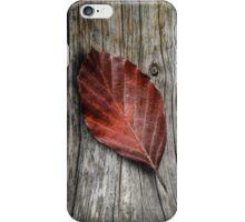 Autumn Leaf On Wooden Background iPhone Case/Skin