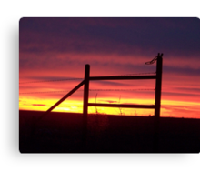 Fence Post in Pink Canvas Print