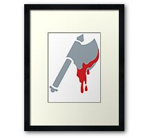 Medieval Viking Axe with dripping blood Framed Print