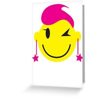 Hot pink smiley! girl winking Greeting Card