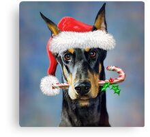 Doberman Christmas Canvas Print
