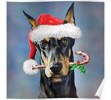 Doberman Christmas Poster