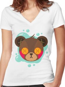 Cute Plush Bear Women's Fitted V-Neck T-Shirt