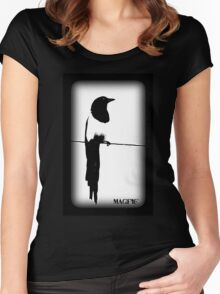 Magpie Black and White T-shirt Women's Fitted Scoop T-Shirt