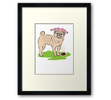 Pink Puggy Pug Dog girl with cute little bow Framed Print