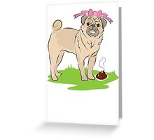 Pink Puggy Pug Dog girl with cute little bow Greeting Card