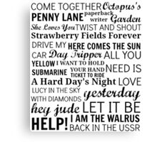 The Beatles Songs Canvas Print