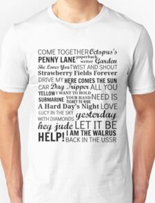The Beatles Songs Unisex T-Shirt
