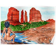 Sedona Cathedral Rock from Oak Creek  Poster