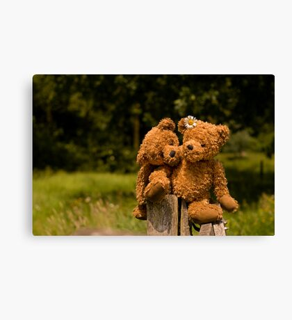 Bear couple in love Canvas Print