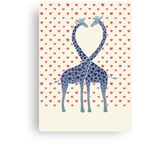 Giraffes in Love - A Valentine's Day Illustration Canvas Print