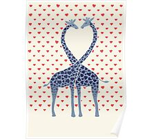 Giraffes in Love - A Valentine's Day Illustration Poster