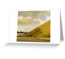 Mother with pram photographing hill in York, UK Greeting Card