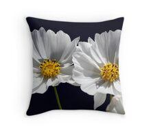 Twin White Cosmos Throw Pillow