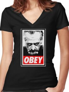 Obey Your Master! Women's Fitted V-Neck T-Shirt