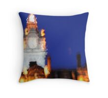 glowing clock tower Throw Pillow