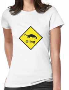 Dinosaur Crossing Womens Fitted T-Shirt