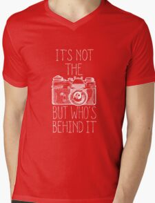 Camera white ink Mens V-Neck T-Shirt