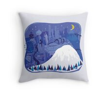 Seattle Cityscape with Mt. Rainier by Wendy Wahman Throw Pillow