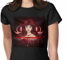 Red haired girl with floral Womens Fitted T-Shirt