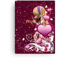 Pink hearts with floral and cupid Canvas Print