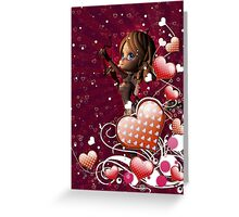 Pink hearts with floral and cupid 2 Greeting Card